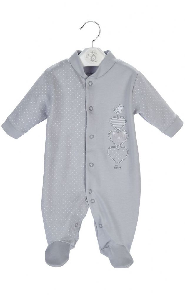"DC3150 G ""Triple Hearts""  Cotton Sleepsuit (1)"